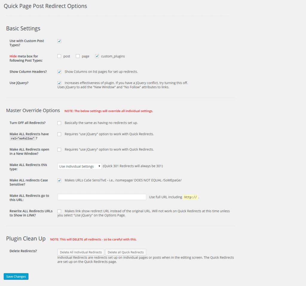 Override settings of 301 redirect wordpress plugin