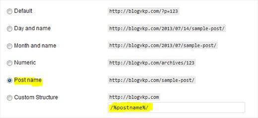 Wordpress SEO Permalink Structure