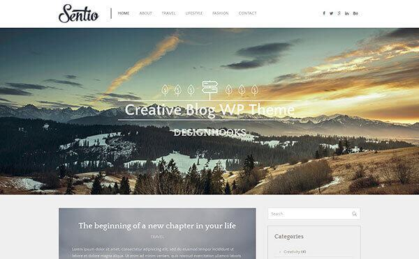 sentio minimal wordpress blogging theme