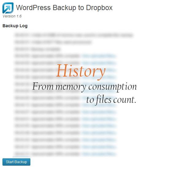 wordpress backup to dropbox plugin history page