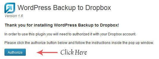 wordpress backup to dropbox settings