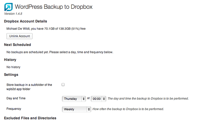wordpress to dropbox plugin settings page