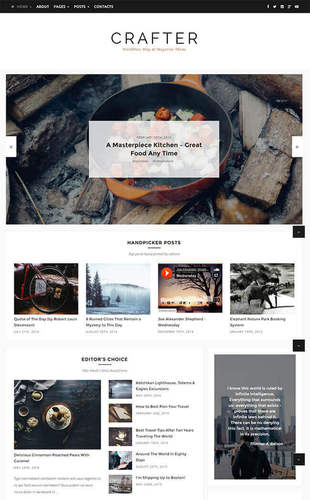 crafter a minimal cheap wordpress theme