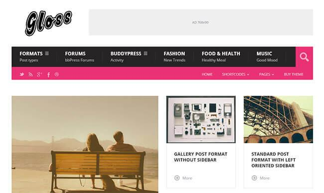 gloss a simple wordpress theme for low price