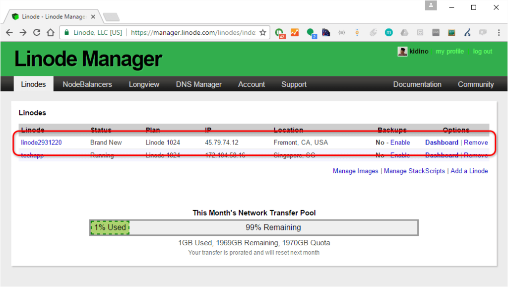 manager your server on linode