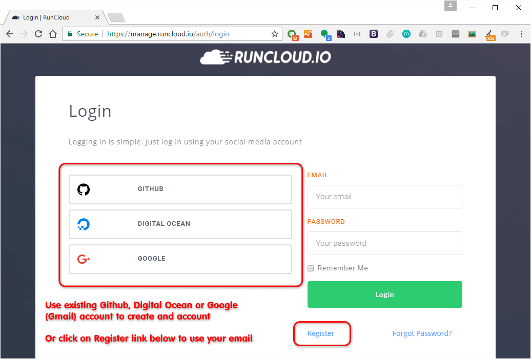 Register Account On Runcloud With Social Media Or Github