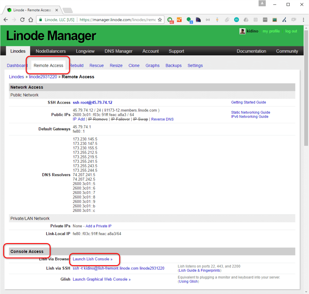 remote access linode server