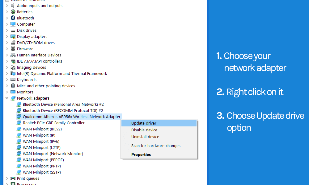 steps to update your network adapter