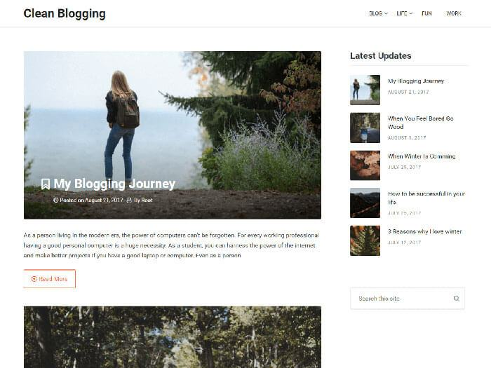 simple clean blogging template
