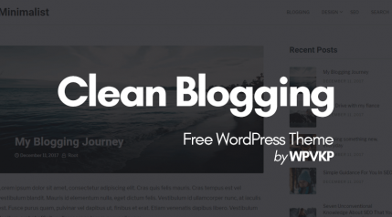 Clean Blogging – A Minimalist WordPress Theme for Writers & Bloggers