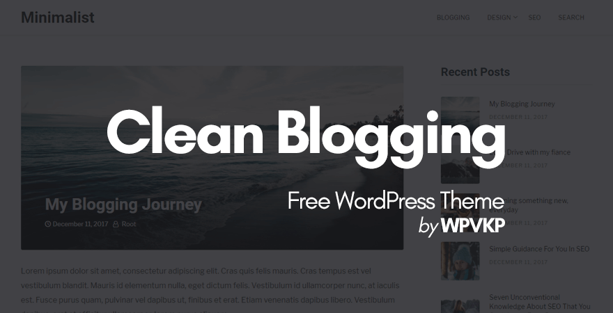clean blogging wordpress theme